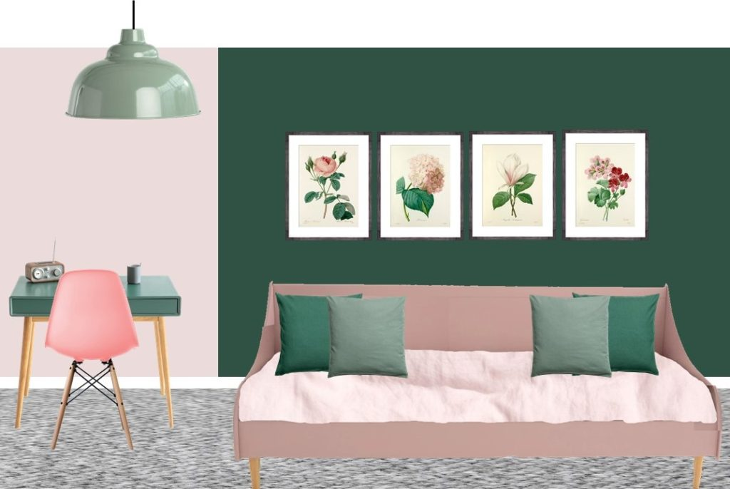 Pink and green tween bedroom styleboard