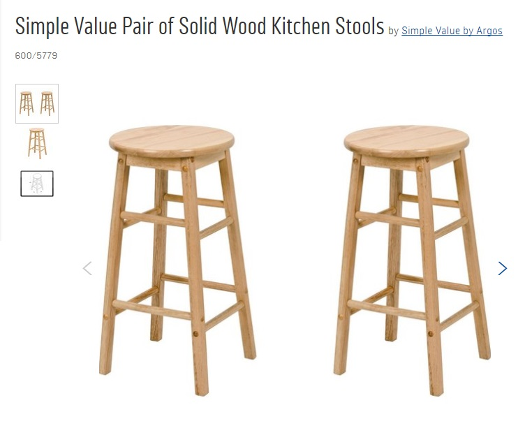 Argos Simple Value Pair of Solid Wood Kitchen Stools