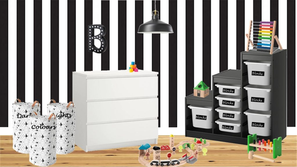 Monochrome gender neutral IKEA nursery