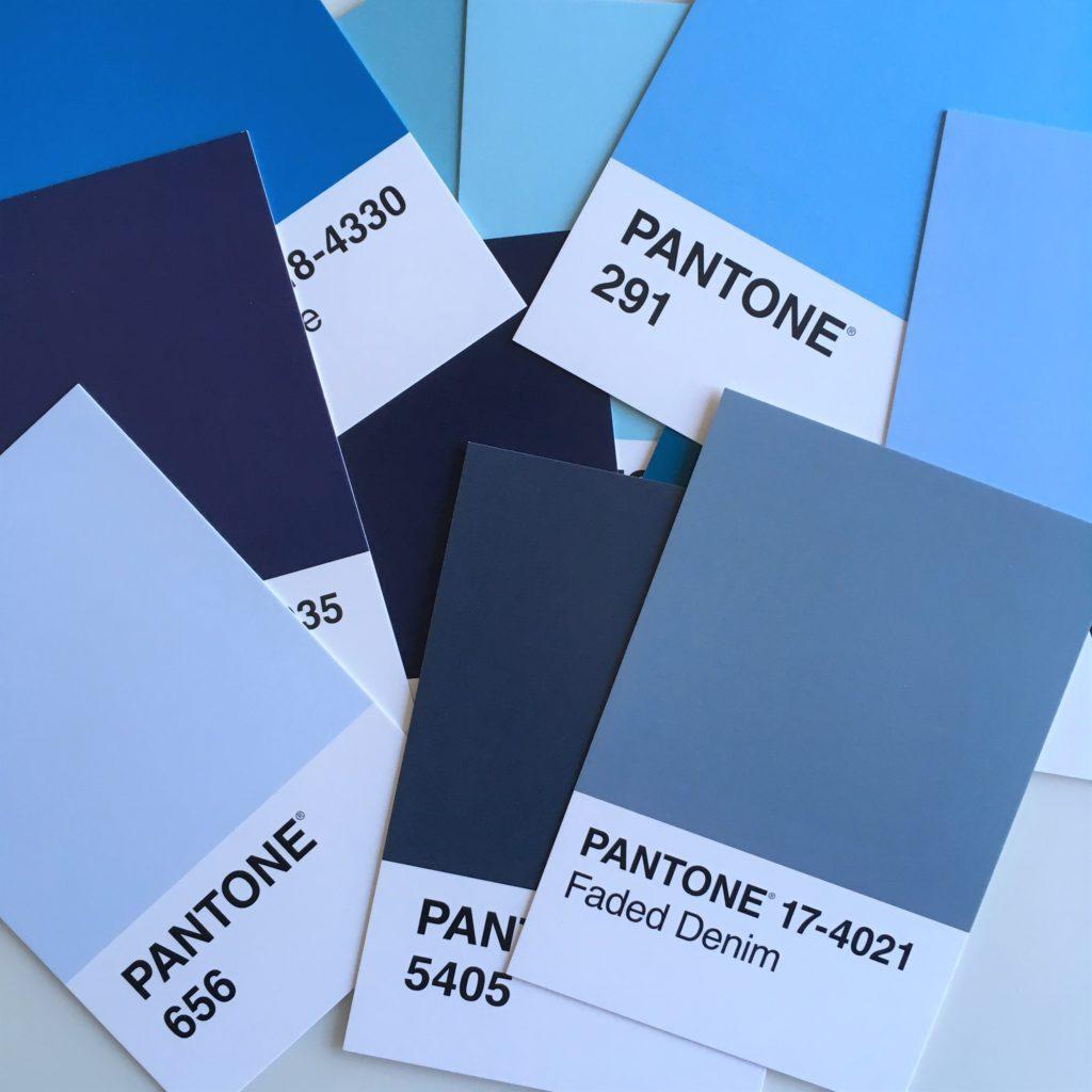 Pantone colour card blues