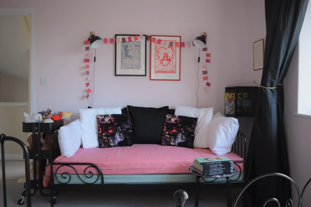 Girl shared bedroom pink floral
