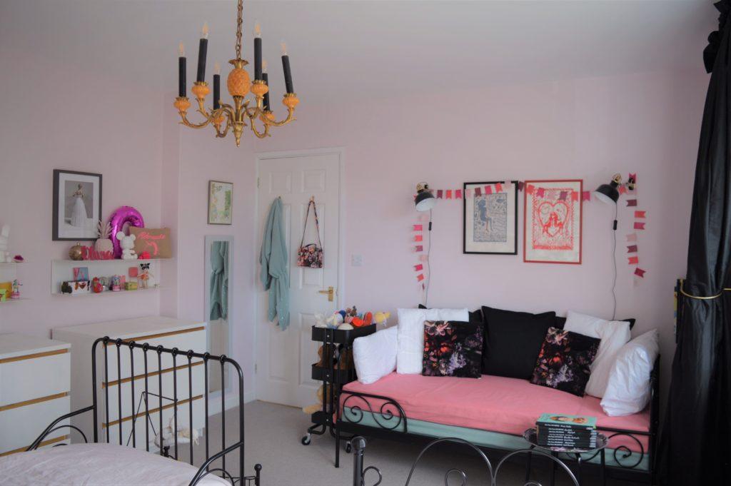 Girl shared bedroom pink floral