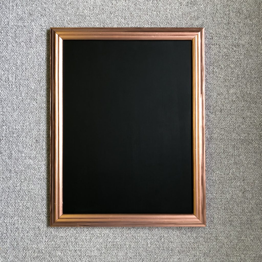 Rustoleum chalk board with copper frame