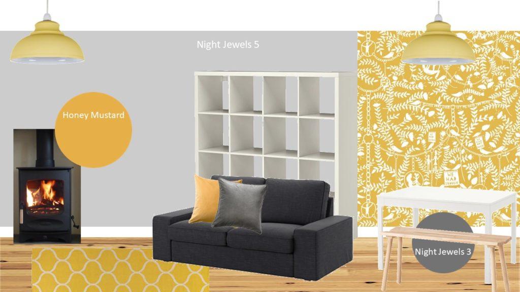 mustard grey sitting room styleboard