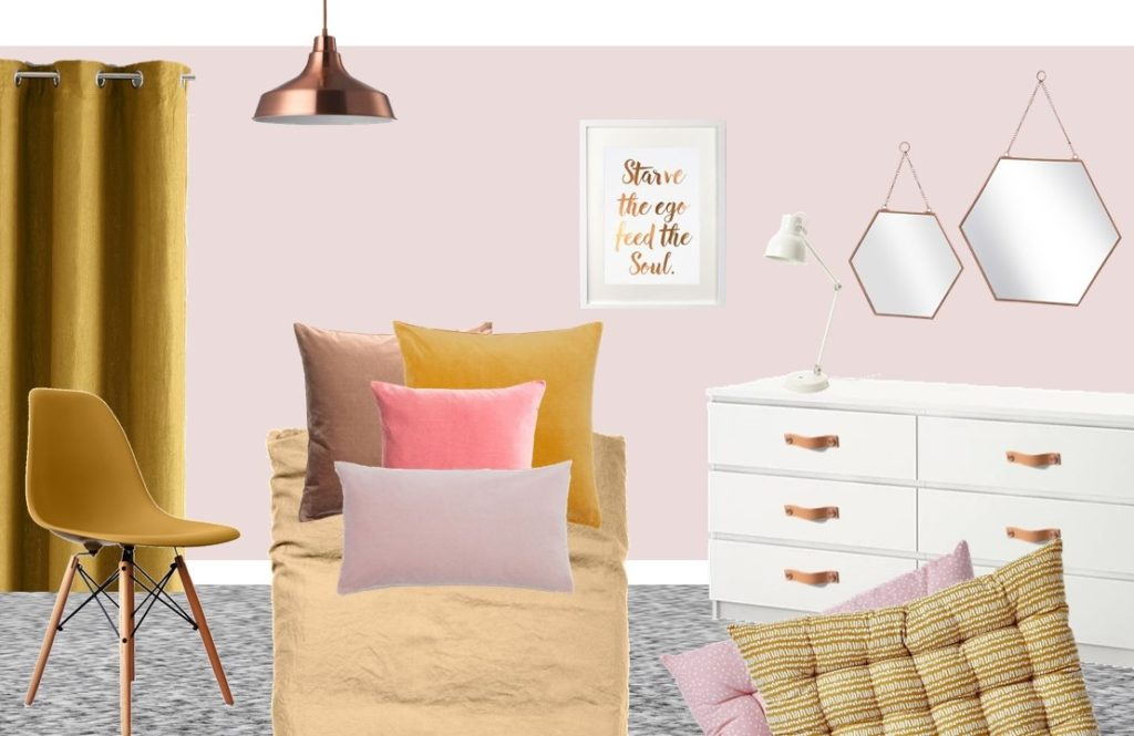 Mustard and Pink styleboard tween bedroom