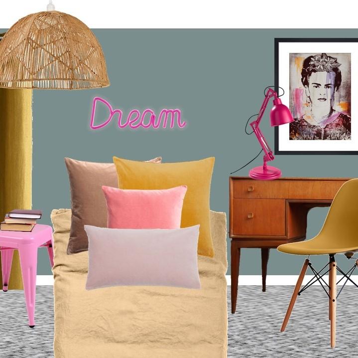 Mustard and teal tween bedroom styleboard Farrow & Ball Oval Room Blue