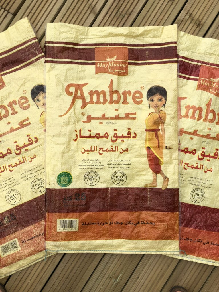 Ambre farine maroc flour bag upcycle outdoor cushion