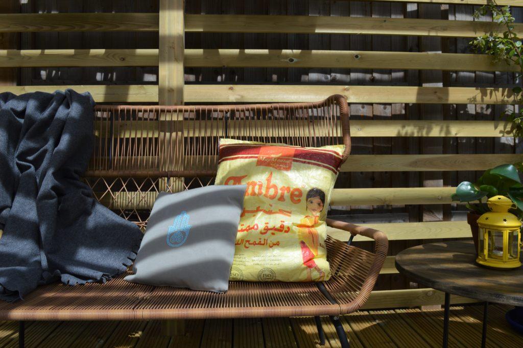 Ambre farine maroc flour bag upcycle outdoor cushion
