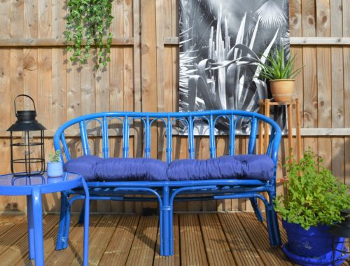 Wicker bench spray paint upcycle rustoleum
