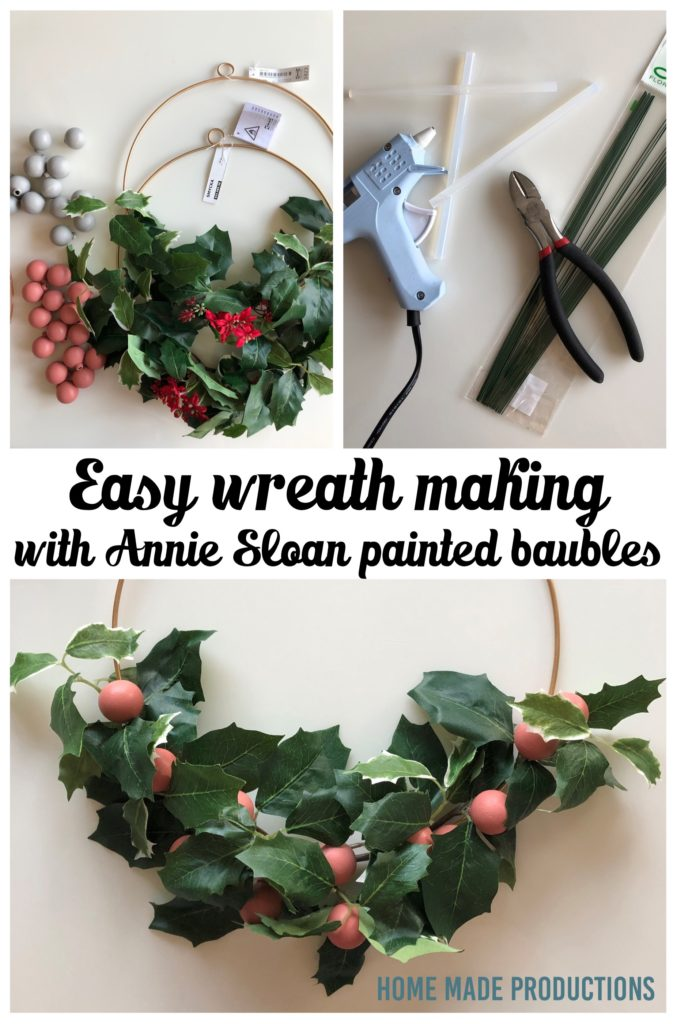 Annie Sloan painted bauble wreath how to Home Made Productions